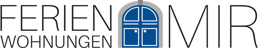 Das Logo der Ferienwohnungen Mir zeigt die markante blaue Eingangstür