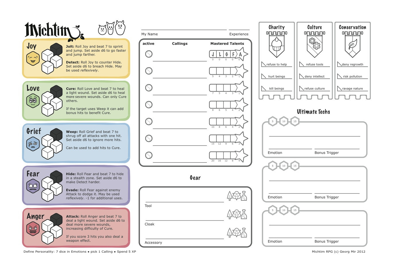 Character sheet for Michtim RPG. It has all the basic action rules on it.