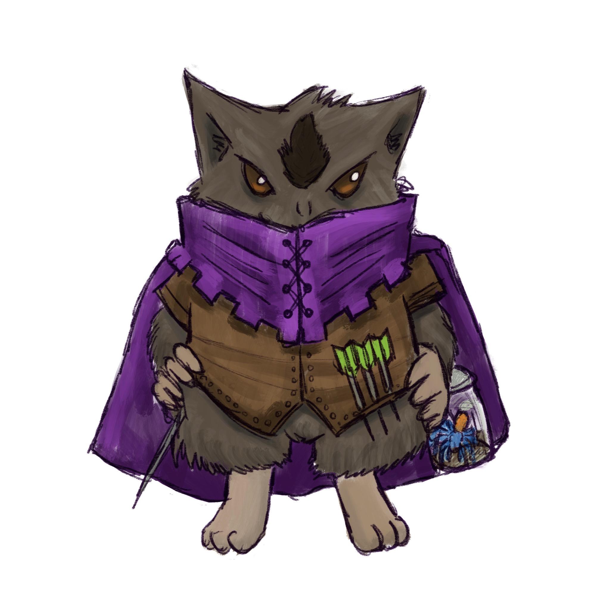 Whisper, a Michtim Bard wearing a purple cloak with high collar