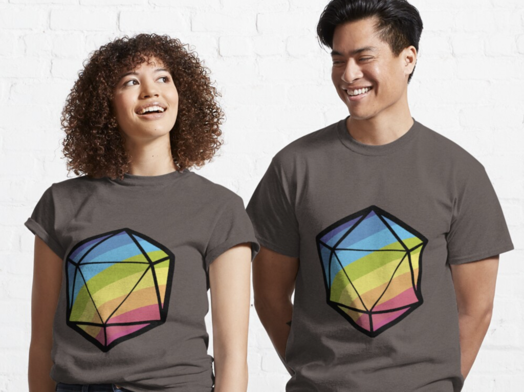 Two beautiful people wearing the Inclusive RPG T-Shirt. It is a rainbow colored 20-sided die.